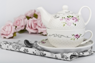 Tea  for one -  Teekanne + Tasse Marina Dekor Pink Rose