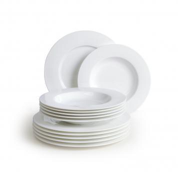 haushaltswaren stratos 12tlg tafelservice 12 teller aus bone china. Black Bedroom Furniture Sets. Home Design Ideas
