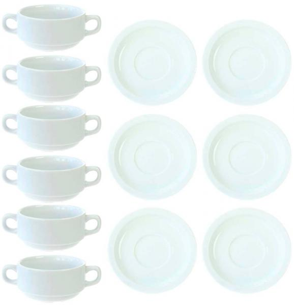 12tlg. Set Suppentassen stapelbar aus Porzellan | eBay