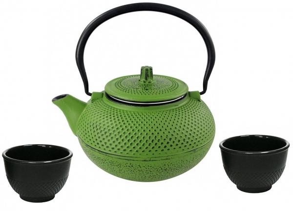 2 Teebecher Asiatische Teekanne 1,5L Gusseisen grün inkl Edelstahlsieb